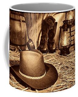 Black Cowboy Hat In An Old Barn Coffee Mug