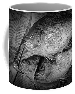 Black Crappie Panfish With Fish Filet Knife In Black And White Coffee Mug