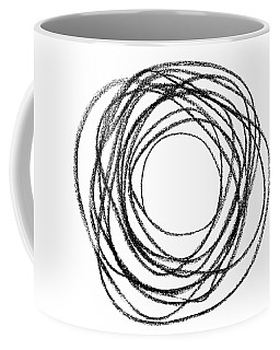 Black Doodle Circular Shape Coffee Mug by GoodMood Art