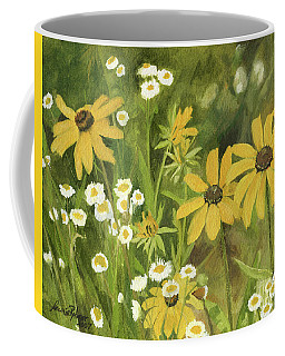 Black-eyed Susans In A Field Coffee Mug by Laurie Rohner