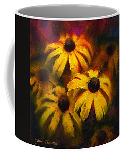 Coffee Mug featuring the painting Black Eyed Susans - Vibrant Flowers by Karen Whitworth