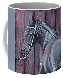 Black Friesian At The Stable Coffee Mug