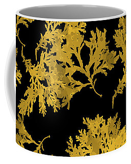 Coffee Mug featuring the mixed media Black Gold Leaf Pattern by Christina Rollo