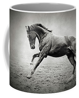 Black Horse In Dust Coffee Mug