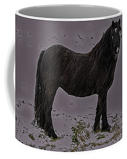 Black Horse In The Snow Coffee Mug