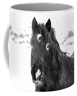 Black Horse Staring In The Snow Black And White Coffee Mug