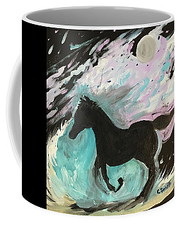 Black Horse With Wave Coffee Mug