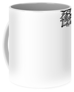 Coffee Mug featuring the digital art Black Lace Print On White by Marianna Mills