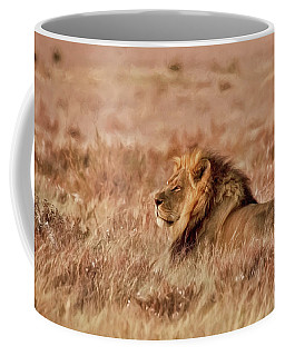Black-maned Lion Of The Kalahari Waiting Coffee Mug