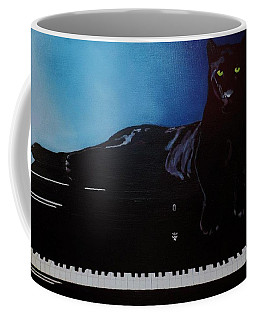 Black Panther And His Piano Coffee Mug by Manuel Sanchez