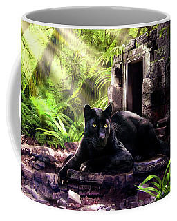 Black Panther Custodian Of Ancient Temple Ruins  Coffee Mug