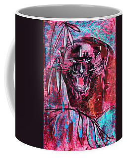 Coffee Mug featuring the drawing Black Panther,  Original Painting by Ariadna De Raadt
