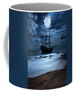 Black Pearl Pirate Ship Landing Under Full Moon Coffee Mug