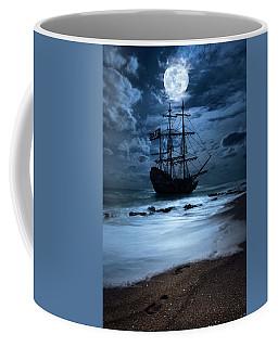 Black Pearl Pirate Ship Landing Under Full Moon Coffee Mug by Justin Kelefas