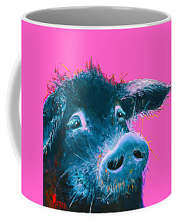 Black Pig Painting On Pink Background Coffee Mug