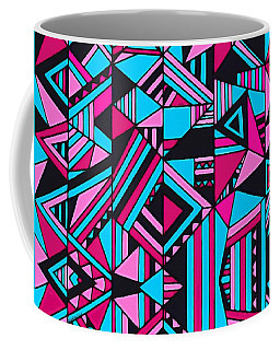 Black Pink Blue Geometric Design Coffee Mug