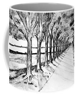Coffee Mug featuring the drawing Black Promenada by Ramona Matei
