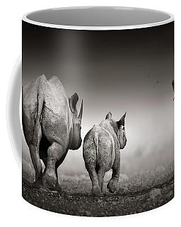 Black Rhino Cow With Calf  Coffee Mug