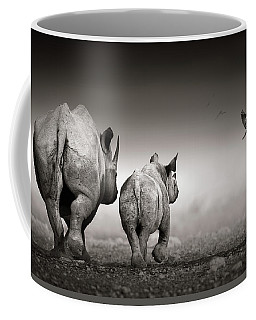 Black Rhino Cow With Calf  Coffee Mug
