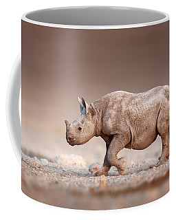 Black Rhinoceros Baby Running Coffee Mug