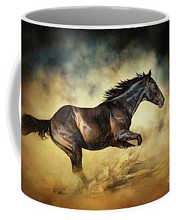 Black Stallion Horse Galloping Like A Devil Coffee Mug