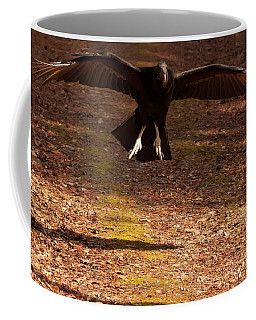 Coffee Mug featuring the digital art Black Vulture Landing by Chris Flees