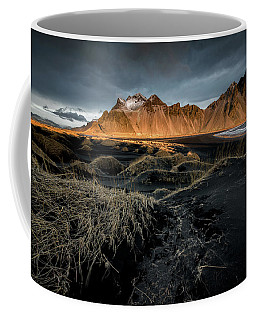 Blackbeach And Vestrahorn Coffee Mug