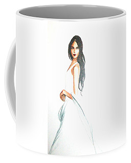 Coffee Mug featuring the drawing Blanca by MB Dallocchio