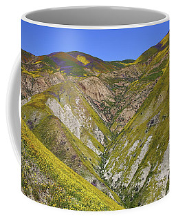 Blanket Of Wildflowers Cover The Temblor Range At Carrizo Plain National Monument Coffee Mug by Jetson Nguyen