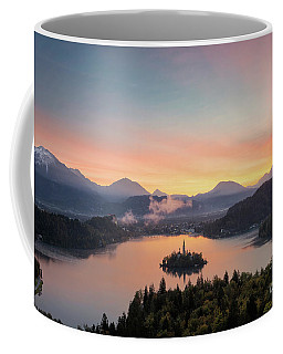Bled Lake Sunrise View Coffee Mug