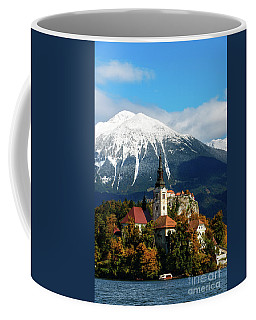 Bled Lake With Snow On The Mountains In Autumn Coffee Mug