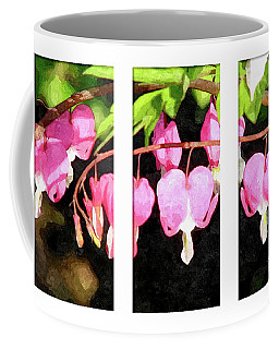 Coffee Mug featuring the digital art Bleeding Heart Triptych by Art MacKay