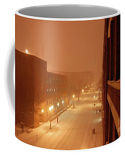 Blizzard Market Street Lowell Ma Coffee Mug by Mary McAvoy
