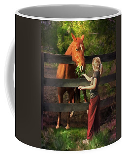 Blond With Horse Coffee Mug