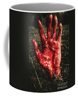 Blood Stained Hand Coming Out Of The Ground At Night Coffee Mug