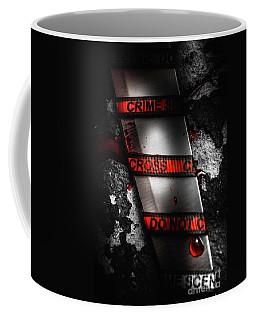 Bloody Knife Wrapped In Red Crime Scene Ribbon Coffee Mug