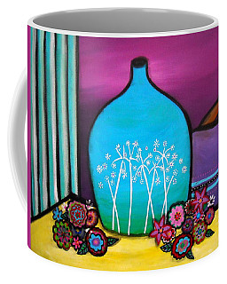 Coffee Mug featuring the painting Bloom And Vase by Pristine Cartera Turkus