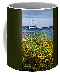 Blooming Flowers By The Bridge At The Straits Of Mackinac Coffee Mug