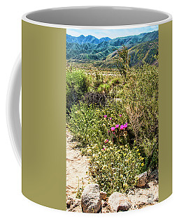 Coffee Mug featuring the photograph Blooming Prickly Pair In Desert Daisy Garden  by Daniel Hebard