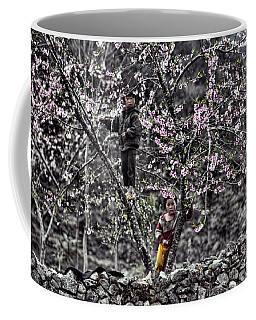 Blossoms Trees Children Ha Giang Northern Vietnam  Coffee Mug