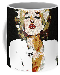 Coffee Mug featuring the painting Blow Me A Kiss Marilyn Monroe In The Mix by Catherine Lott