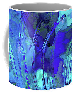 Coffee Mug featuring the painting Blue Abstract Art - Reflections - Sharon Cummings by Sharon Cummings