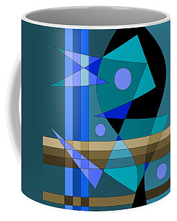 Coffee Mug featuring the digital art Blue Abstract by Val Arie