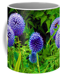 Blue Allium Flowers Coffee Mug by Judi Saunders