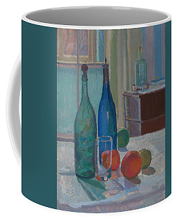 Blue And Green Bottles And Oranges Coffee Mug