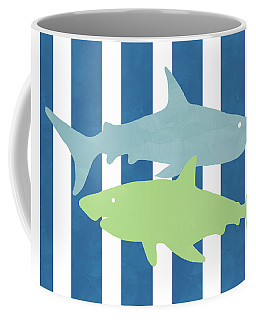 Blue And Green Sharks- Art By Linda Woods Coffee Mug