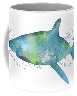 Blue And Green Watercolor Shark 1-art By Linda Woods Coffee Mug