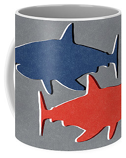 Blue And Red Sharks Coffee Mug