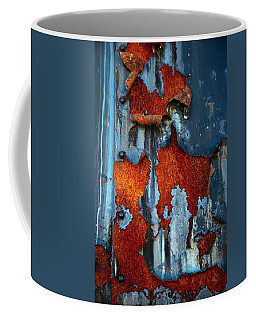 Coffee Mug featuring the photograph Blue And Rust by Karol Livote