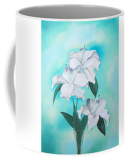 Coffee Mug featuring the mixed media Blue And White by Elizabeth Lock